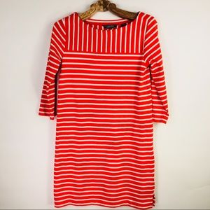 Lands' End Red Orange White Stripe Shift Dress XS